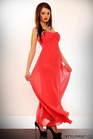 Elegantní červené dlouhé společenské šaty Dámské ... def8a9e4c65